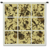 Floral Division in Gold Wall Tapestry