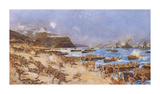 The Landing at Anzac, 25th April 1915 Premium Giclee Print by Charles Edward Dixon