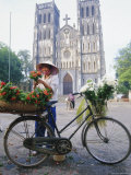 Woman Selling Flowers off Her Bicycle, Hanoi, Vietnam, Indochina, Asia Photographic Print by Tim Hall