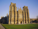The West Front of the Cathedral, in Late Autumn Sun, Wells, Somerset, England, UK Photographic Print by Richard Ashworth