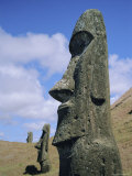 Unfinished Heads on Outer South Slopes of the Crater, Rano Raraku, Easter Island, Chile Photographic Print by Geoff Renner