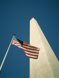 Stars and Stripes American Flag and Washington Monument, Washington D.C., USA Photographic Print by Geoff Renner
