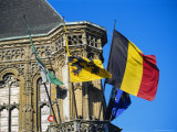 Flags of Belgium on the Right, Flanders in the Center on the Town Hall of Ghent, Flanders, Belgium Photographic Print by Richard Ashworth