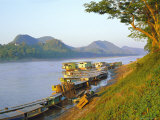 Looking North up Mekong River, Boats Moored at Luang Prabang, Northern Laos Photographic Print by Richard Ashworth