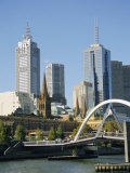 Footbridge Over the River Yarra and City Skyline, Melbourne, Victoria, Australia Photographic Print by Ken Gillham