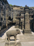 Massive Elephant and Column in Nw of Courtyard, Kailasa Temple, Ellora, Maharashtra, India Photographic Print by Richard Ashworth