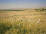 Custer's Last Stand Battlefield, Custer's Grave Site Marked by Dark Shield on Stone, Montana, USA Photographic Print by Geoff Renner