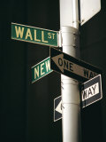 Wall Street Sign, New York City, New York State, USA Lmina fotogrfica por Walter Rawlings