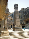 Huge Column in Sw of Courtyard, Kailasa Temple, Ellora, India Photographic Print by Richard Ashworth