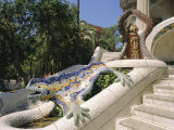 Mozaic Lizard Sculpture by Gaudi, Guell Park, Barcelona, Catalonia, Spain, Europe Photographic Print by Ken Gillham