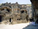 Main Hall (Mandapa) from Sw with Entrance and Ramayana Frieze, Kailasa Temple, Ellora, India Photographic Print by Richard Ashworth