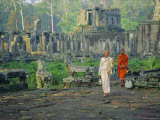 Buddhist Nun and Monk at the Bayon, Angkor, Siem Reap, Cambodia, Indochina, Asia Photographic Print by Tim Hall