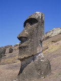 Rano Raraku, Moai on Inner Slopes of Volcanic Crater, Easter Island, Chile, Pacific Photographic Print by Geoff Renner