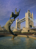 Fountain of Child with Dolphin and Tower Bridge, London Photographic Print by Gavin Hellier