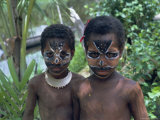 Portrait of Two Children with Facial Decoration, Sepik River, Papua New Guinea, Pacific Photographic Print by Sybil Sassoon