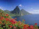 Soufriere and the Pitons, St. Lucia, Windward Islands, West Indies, Caribbean, Central America Photographic Print by Gavin Hellier