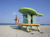 Art Deco Style Lifeguard Hut, South Beach, Miami Beach, Miami, Florida, United States of America Photographic Print by Gavin Hellier