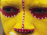 Close up of Facial Decoration in Yellow, Red and White Make-Up, Papua New Guinea, Pacific Photographic Print by Maureen Taylor
