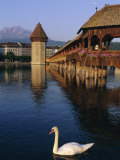 Kapellbrucke (Covered Wooden Bridge) Over the River Reuss, Lucerne (Luzern), Switzerland, Europe Photographic Print by Gavin Hellier