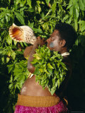 Portrait of a Tribal Chief Blowing a Shell, Fiji, South Pacific Islands, Pacific Photographic Print by Maurice Joseph