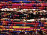 Detail of a Pile of Colourful Ponchos, Cuzco (Cusco), Peru, South America Photographic Print by Gavin Hellier