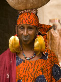 Portrait of a Fulani Woman with Traditional Gold Earrings, Mali, West Africa, Photographic Print