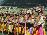 Masked Bhutanese Dancers, Bhutan Photographic Print by Sybil Sassoon