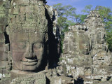 Myriad Stone Heads Typifying Cambodia, the Bayon Temple, Angkor, Siem Reap, Cambodia, Indochina Photographic Print by Gavin Hellier