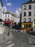 Street Scene and the Dome of the Basilica of Sacre Coeur, Montmartre, Paris, France, Europe Photographic Print by Gavin Hellier