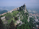 Castle Atop Mountain Peak, San Marino Republic Photographic Print by Gavin Hellier