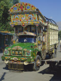 Typical Decorated Truck, Karakoram (Karakorum) Highway, Gilgit, Pakistan Photographic Print by Anthony Waltham