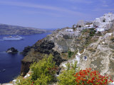 Cruiseship Passing the Island, Santorini, Cyclades Islands, Greece, Europe Photographic Print by Gavin Hellier