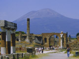 Pompeii, Mt. Vesuvius Behind, Campania, Italy, Europe Photographic Print by Anthony Waltham