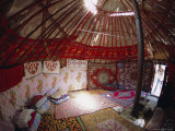 Inside Kazakhs Yurt, Tianchi (Heaven Lake), Tien Shan, Xinjiang Province, China Photographic Print by Anthony Waltham
