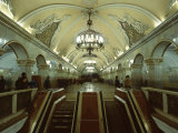 Interior of a Metro Station, with Ceiling Frescoes, Chandeliers and Marble Halls, Moscow, Russia Photographic Print by Gavin Hellier