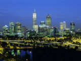 City Skyline and Swan River from Kings Park in the Evening, Perth, Western Australia, Australia Photographic Print by Gavin Hellier
