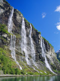 Seven Sisters Falls as Seen from Ferry, Geiranger Fjord, Norway, Europe Photographic Print by Anthony Waltham