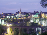 City Skyline at Dusk, Luxembourg City, Luxembourg, Europe Photographic Print by Gavin Hellier