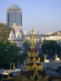 Skyline of Central Area and Sule Paya, Rangoon, Myanmar (Burma), Photographic Print