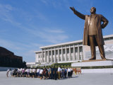 Commune Group Brought to Bow to Great Leader on Grand Monument, Pyongyang, North Korea, Asia Photographic Print by Anthony Waltham
