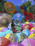 Woman Painting Umbrellas, Bo Sang Umbrella Village, Chiang Mai, Northern Thailand, Asia Photographic Print by Gavin Hellier