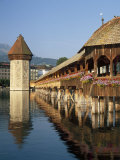 (Covered Wooden Bridge) Over the River Reuss, Kapellbrucke, Lucerne (Luzern), Switzerland Photographic Print by Gavin Hellier