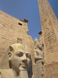 Ramses II and the Obelisk at Luxor Temple, Luxor, Thebes, Egypt, Africa Photographic Print by Gavin Hellier