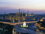 Wat Phra Kaew, the Temple of the Emerald Buddha, and the Grand Palace at Dusk in Bangkok, Thailand Photographic Print by Gavin Hellier