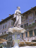 Fountain in Piazza Delle Erbe, Verona, Unesco World Heritage Site, Veneto, Italy, Europe Photographic Print by Gavin Hellier