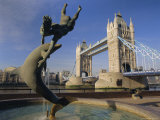 Dolphin Sculpture and Tower Bridge, London, England, UK Photographic Print by Gavin Hellier