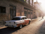 Early Morning Street Scene with Classic American Car, Havana, Cuba, West Indies, Central America Photographic Print by Lee Frost
