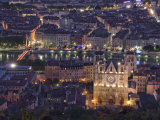 Cityscape, River Saone and Cathedral St. Jean at Night, Lyons (Lyon), Rhone, France, Europe Photographic Print by Charles Bowman