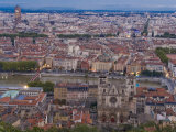 Cityscape, River Saone and Cathedral St. Jean, Lyons (Lyon), Rhone, France, Europe Photographic Print by Charles Bowman