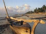 Canoe Pulled up onto Beach at Dusk, Bamburi Beach, Near Mombasa, Kenya, Africa Fotografisk tryk af Charles Bowman